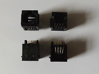 RJ45 Network Jack socket PCB - Black x 4 (2 pairs) 8-Pin Unshielded - Rear Mount