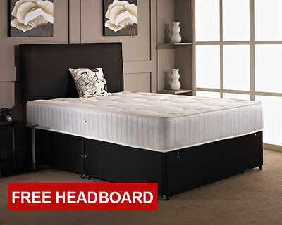 BLACK MEMORY FOAM DIVAN BED SET + MATTRESS + HEADBOARD SIZE 3FT 4FT6 Double 5FT