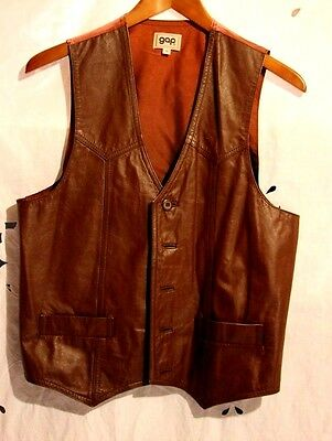 Vintage Gap Brown Leather Vest Size M