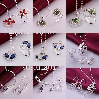 solid sterling 925 Silver Ring Necklace Earrings Eardrop XMAS Jewellry Gift