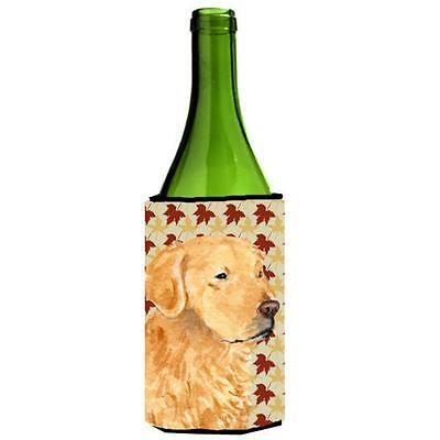 Golden Retriever Fall Leaves Portrait Wine bottle sleeve Hugger