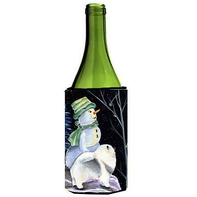 Carolines Treasures Snowman With Keeshond Wine bottle sleeve Hugger 24 oz. • AUD 48.26