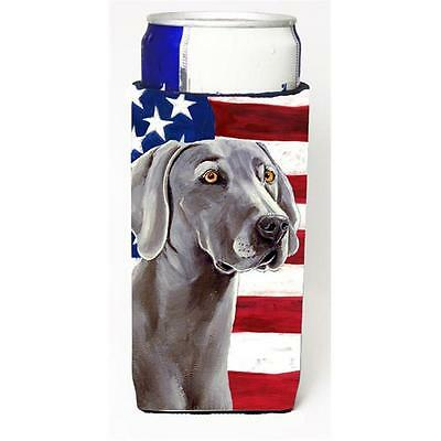 Usa American Flag With Weimaraner Michelob Ultra bottle sleeve for Slim Can