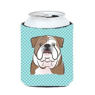 Checkerboard Blue English Bulldog Can Or Bottle Hugger, 12 Oz.