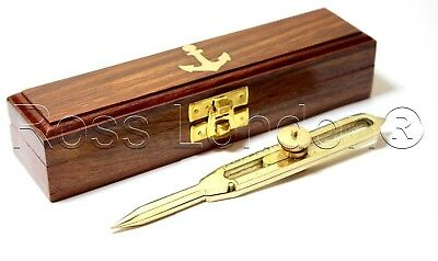 "6 "" Solid Brass Marine Navigation Proportional Divider Compass with wooden case"