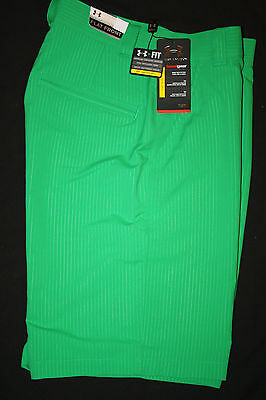 UNDER ARMOUR Mens Bent Grass Embossed Striped Flat Front Golf Shorts NWT Size 30