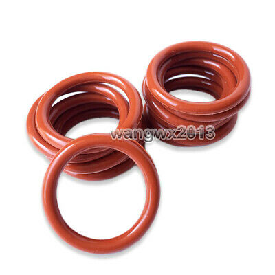 10PCS Oil Heat Resistant 2mm Silicone Rubber O-Ring Sealing Ring 12-29mm