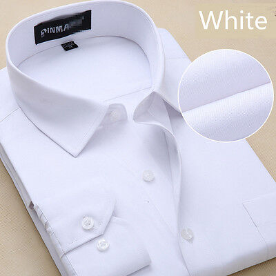 Mens Work Smart Long Sleeve Shirt Business Formal Casual Dress Shirt UK Seller