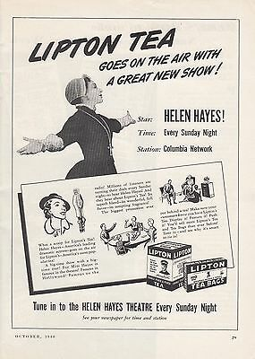1940 Lipton Tea Ad: Goes on the Air With Great New Show Helen Hayes Theatre