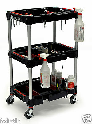 Mechanics 3-Shelf Cart with Dividers, Cup Holders, Cable-Wrap & Magnetic Strips