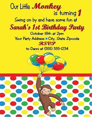 Curious George Birthday Party Invitations Personalized Custom