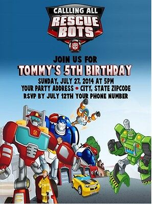 Transformers Rescue Bots Birthday Party Invitations Custom Personalized