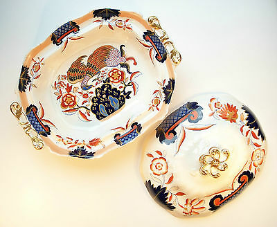 Antique English Ironstone Tureen - Hand Painted & Gilt Decorated - Early 19th C.
