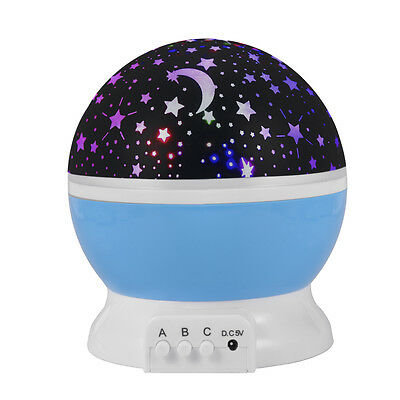 Starry Night Light Romantic Colorful LED Star Moon Sky Rotating Projector