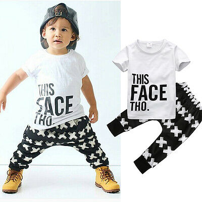 2pcs Short Sleeve Toddler Kids Baby Boy Outfits Tops+Pants Casual Clothes Sets