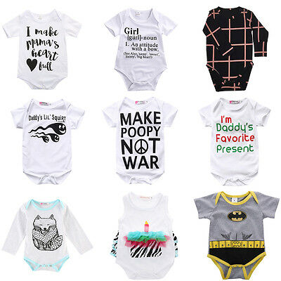 Newborn Kids Baby Boy Girls Cotton Romper Jumpsuit Playsuit Clothes Outfits Hot