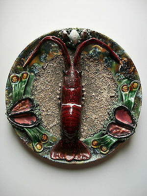 PALISSY (Style) - Antique Majolica Charger with Sea Creatures - 20th Century