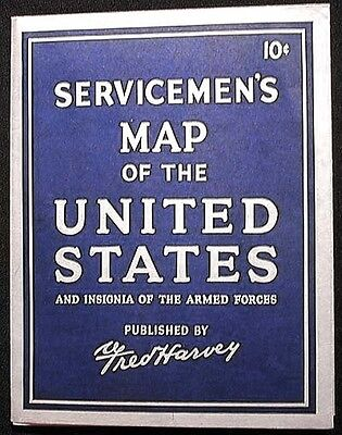 Servicemen's Map of the United States and Insignia of the Armed Forces Harvey