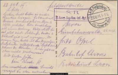 French 1915 (Oct) WWI Military Field Post Card to Chivres France