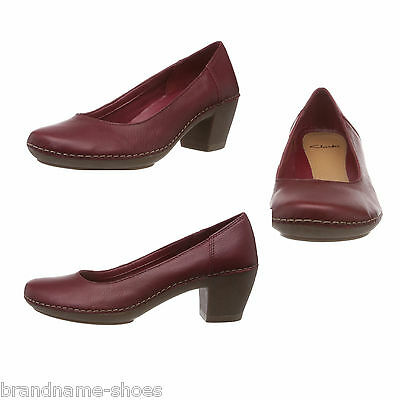 Ladies Womens Clarks Emerson Jazz Red Leather Comfortable  High Heels Work Shoes