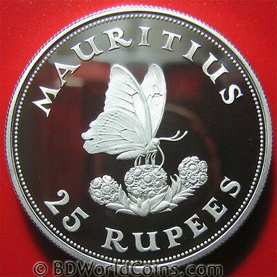 1975 MAURITIUS 25 RUPEES SILVER PROOF BUTTERFLY FLOWER 38.6mm CROWN MINT=9,869