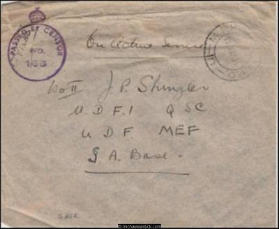 Unknown Origin 1943 (Aug) Censored WWII Military Cover to Sth Afr ME Forces