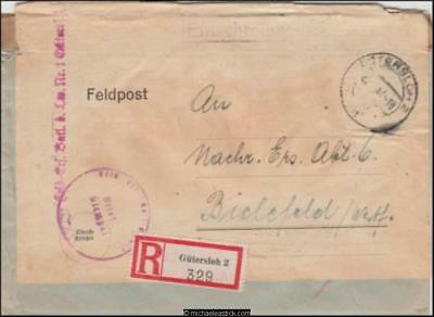 Germany 1944 (Feb) Censored Registered Re-used Cover Multi P/M to Biclefeld