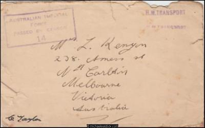 1940''s Censored WWII Military Cover to North Carlton Vic