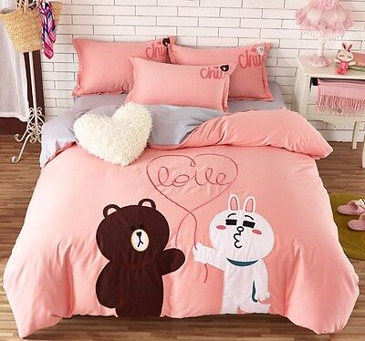 2016 Naver Line Character Cony Bedding Set 4pc Queen King Bed Cotton RARE