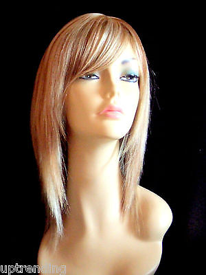 100% Real Human Hair Lady Wig With Skin Top Parting Brand New Boxed Free Wig Cap