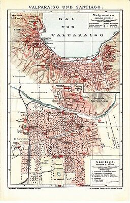 1899 CHILE VALPARAISO and SANTIAGO Antique Map