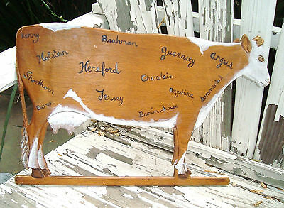 Vtg French Country Farmhouse Primitive Hand Painted Cow Wall Plaque - Folk Art