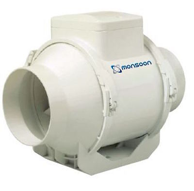 """Monsoon UMD100T 4"""" In Line Mixed Flow Extractor Fan with Timer"""