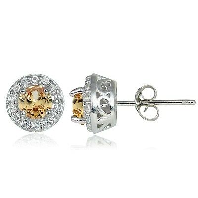 Sterling Silver 0.55ct Citrine & White Topaz 4mm Halo Stud Earrings
