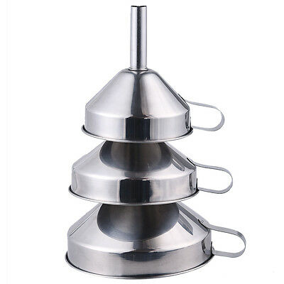 Durable 3 Piece Funnel Set Stainless Steel Kitchen Tool