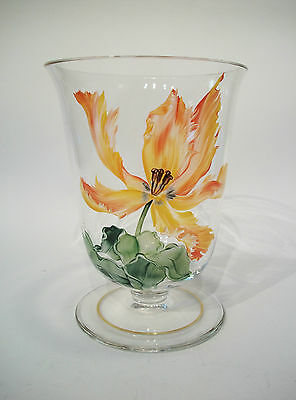 Vintage Glass Vase - Hand Painted Enamels - Gilt Rim - Unsigned - 20th Century