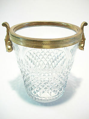 Antique Cut Crystal & Gilt Bronze Ice Bucket - Unsigned - France - 20th Century