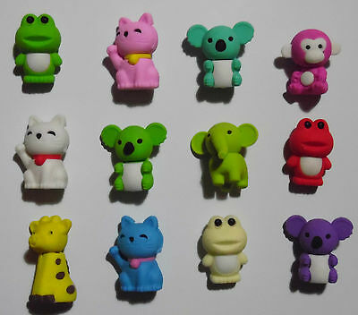 New 12 x Novelty Animal Erasers/Animal Rubbers Gift Toy Eraser Set Stationery
