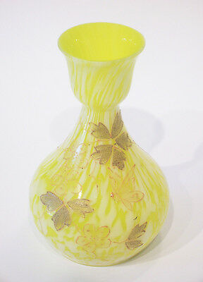 Vintage Bohemian Glass Vase - Hand Painted & Gilded - Unsigned - Early 20th C.