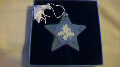 Blue Jasperware Wedgwood 2004 Christmas Star with Holly Ornament with fringe