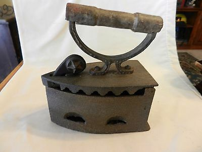 Antique Heavy Coal Clothing Iron with Handle For Collectors or Door Stop