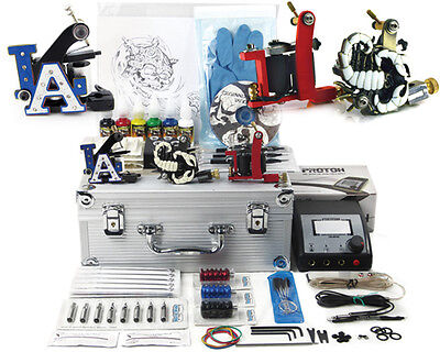 TATTOO STARTER TRAVEL KIT #2 SELLER Supply Ink Needles Machine Grips Tips Case