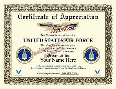 US AIR FORCE Certificate of Appreciation *8.5 by 11 inches* Military - USA Made