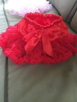 Baby Tutu Red 0-12months Higher Quality Satin Petticoat W/ Bow And Headband