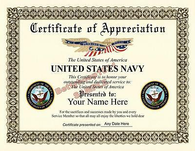 US NAVY Certificate of Appreciation ***8.5 by 11 inches*** Military - USA Made