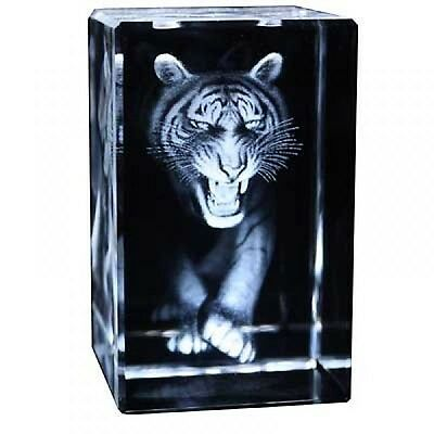 Prowling Tiger Engraved Crystal Ornament Head On Supplied Gift Boxed New