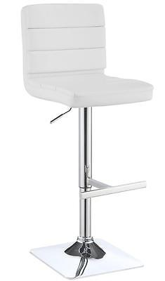 Contemporary Adjustable White Upholstered Bar Stool by Coaster 120694 - Set of 2