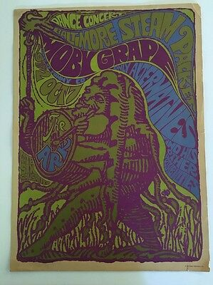 Vintage Concert Poster Pin-Up Moby Grape & Only Alternatives Baltimore Steam 60s