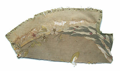 "Antique Aubusson Tapestry Fragment - Silk & Cotton - 14"" x 7"" - 19th Century"