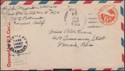 Australia 1944 (Jun) Censored WWII Military Cover Townsville to Newark OH US